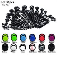 Wholesale ear stretching tapers plugs resale online - 36Pcs UV Acrylic Ear Gauge Taper Plug Stretching Kits Ear Flesh Tunnel Expander Body Piercing Jewelry Mixed Color G G