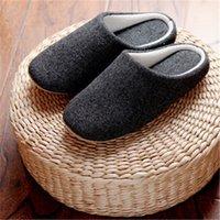 ingrosso pantofole di cotone puro-2018 panno uomini e donne casa coperta di cotone e pantofole di lino pantofole di puro cotone nero famiglia YXJ116