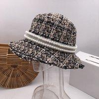 tweed caps groihandel-Aristokratische Wind wen fahlen Fischer Hut weibliche japanische Freizeit Joker Hut Perle Han-Ausgabe Tweed Becken Eimer Hüte Kappe Gitter