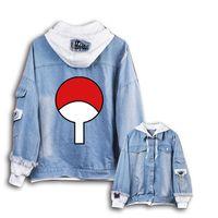 Wholesale naruto coat jacket online - 2019 New Naruto hoodie Anime Uchiha Sasuke denim Coat Men Women Fashion jeans Jacket
