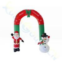 hotel inflable al por mayor-2.4M Santa inflable tienda de centro comercial muñecas puerta del arco muñeco de nieve hotel de diseño decoraciones lugar Año Nuevo accesorios de Navidad ornamento