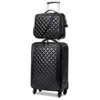 conjuntos de bolsa de equipaje al por mayor-LeTrend Retro PU de cuero conjunto de equipaje rodante Spinner alta capacidad Trolley de alto grado de lujo maleta ruedas bolsa de viaje de cabina