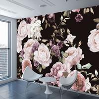 розовые цветы оптовых-Custom 3D Photo Wallpaper Mural Hand Painted Black White Rose Peony Flower Wall Mural Living Room Home Decor Painting Wall Paper