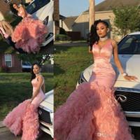 ingrosso bellissime abiti da sera della sirena-Beautiful Pink Mermaid Prom Dresses Long 2019 Tiered Ruffles Black Girls maniche lunghe da sera usura del partito abiti personalizzati Made Cheap
