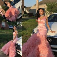 ingrosso bei vestiti da promenade increspati-Beautiful Pink Mermaid Prom Dresses Long 2019 Tiered Ruffles Black Girls maniche lunghe da sera usura del partito abiti personalizzati Made Cheap