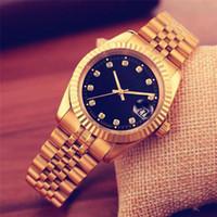 erkekler için elmas marka saatler toptan satış-Relogio masculino Lüks erkek tasarımcı saatler otomatik Yeni marka erkekler elmas İzle altın kol saati gün tarih deri Bilezik Toka saat