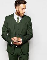corbata gris corbata al por mayor-Alta calidad Groomsmen Peak Lapel Novio Tuxedos hombres verde oscuro trajes de boda / Prom Best hombre Blazer (chaqueta + chaleco + pantalones + corbata) O518