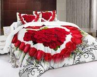 kırmızı çiçek nevresim takımı seti toptan satış-Yeni Tasarım 3D Kırmızı Çiçekler kalp Yatak Seti Baskılı Yatak Örtüsü Yatak Örtüsü Nevresim Set Kraliçe