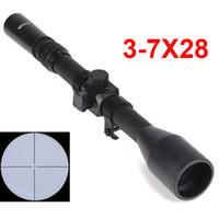ingrosso scoppiatori scoppi-Ottica di caccia 3-7x28 Cannocchiale Telescopico Sniper Scope Mirino Fucile Mirini per armi con supporti Mirino per esterni AirsoftT190724