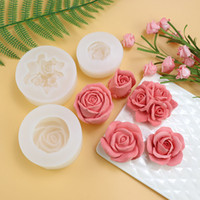 Wholesale 3d rose soap mold for sale - Group buy big silicone mold soap candle fondant making D Rose Flower Shape DIY pastry cake decoration baking tool