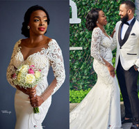 Wholesale wedding sweep tiered dresses for sale - Group buy African Vintage Long Sleeves Lace Appliqued Mermaid Wedding Dresses Sexy Black Girl Sweep Train Plus Size Bridal Gown
