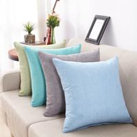 fundas de almohada de lino llano al por mayor-Funda de almohada de lino de color liso 9 colores Funda de cojín liso Fundas de almohada de lino cuadrado Fundas de almohada de sofá 40 cm * 40 cm Cubiertas IIA240