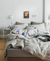 schlafzimmer quilts deckt großhandel-Heimtextilien Schlafzimmer Bettwäsche Bettwäsche Set Bettbezug Kissenbezug Flachbettlaken oder Spannbetttuch Matratzenbezug Bettwäsche Streifen