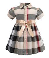 saias macias roxas venda por atacado-Alta qualidade menina vestido de manga curta de verão de algodão crianças meninas vestido xadrez vestido de princesa vestidos de festa