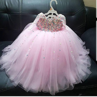 Wholesale long size girl pageant gowns resale online - Luxury Pink Pearls Flower Girl Dresses Long Sleeves Tulle Little Girl Wedding Dresses Vintage Plus Size Communion Pageant Dresses Gowns