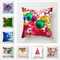 tirar fundas de almohada al por mayor-NUEVA caja de Navidad arpillera Almohada hogar de la Navidad cubierta decoración almohada de lino Shams Plaza banda fundas de almohada fundas de cojines para el banco de Sofá