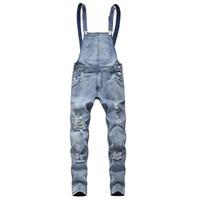 overall männer groihandel-Männer Jeans Skinny Ripped Loch Plissee Patchwork Slim Fit Hip Hop Biker Jeans Männer 2019 Neue Casual Overalls Hosen