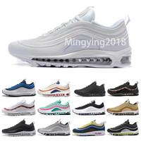 mejor para zapatillas al por mayor-97 OG Mens Designer Zapatos para correr 2019 Mujeres invicto 20 aniversario Negro Metallic Gold Silver Bullet Mejores zapatillas deportivas EE. UU. 5.5-11