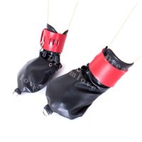 Wholesale female hand fetish resale online - gloves Female Locking Leather Puppy Role Play Fetish Strait Mitts Hand Mitten with Pad Lock and D Rings Dog Cosplay