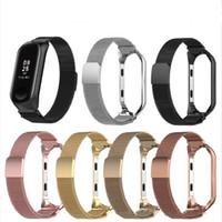 bracelet magnétique noir achat en gros de-Bracelet milanais magnétique en métal de la boucle + bracelet de montre en acier inoxydable Bracelet de remplacement de la courroie maillée pour Xiaomi Mi 3 4 noir