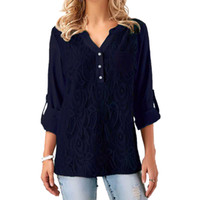 черное кружево в шее блузка оптовых-5XL Plus Size Chiffon Shirts for Womens Tops and Blouses Elegant Lady Loose Casual Lace Sexy V Neck Blouse Navy Black Red Blusas