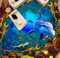 ingrosso disegnare 3d-3D Wallpaper Foto Murales PVC impermeabile autoadesivo Underwater World Dolphin Coral 3D Draw Floor Wall Stickers murali