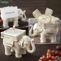 elfenbein antiquitäten großhandel-Lucky Elephant Antique Ivory Kerzenhalter Tischkartenhalter Kerzenhalter Geburtstag Hochzeit Home Decoration Craft Gift