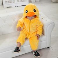 pato de lujo al por mayor-Boy Girl Dress Up Hot Baby Yellow Duck Costume Cosplay Kigurumi Cartoon Animal Rompers Infant Toddler Jumpsuit Flannel Halloween Fancy Dress