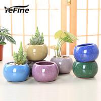 potes de plantas chinesas venda por atacado-YeFine estilo chinês de gelo rachadura porcelana Bonsai Pots Para plantas suculentas Casa e Jardim decorativa Planter Vasos de cerâmica T191016