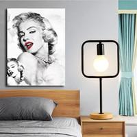 schlafzimmer malerei porträts großhandel-Marilyn Monroe Porträtkunst Leinwand Malerei HD Wandbild Poster Und Druck Dekorative Für Schlafzimmer Wohnkultur