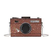 mini-kamera-design groihandel-Schillernde Design Kamera Styling Mode Kette Geldbörse Umhängetasche Frauen Crossbody Mini Umhängetasche Mädchen Samll Klappe Telefon # 173248
