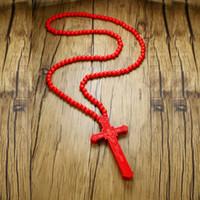 große perlen lange halsketten großhandel-Extra lange Holz Rosenkranz Halskette große Jesus Christus riesige Anhänger Hip Hop neue Männer Mode Stil Zubehör rot braun 36 Zoll