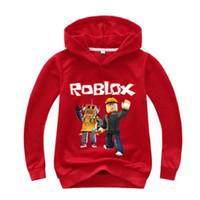 deportes trajes niños al por mayor-Sudaderas con capucha de Roblox Camiseta para niños Sudadera roja Día traje traje deportivo para niños Suéter para niños Camiseta de manga larga Tops RO2