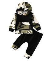 bebé traje fresco al por mayor-Bebés y niños pequeños camuflaje con capucha Trajes bebé recién nacido muchachos del niño ocasional fresca con capucha Tops Pantalones largos Trajes Set 2 piezas de ropa