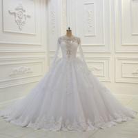 Wholesale designers' wedding dresses resale online - New Designer Wedding Dresses Vestido De Noiva Beaded Top Long Sleeves Button Back Vintage Bridal Gowns