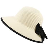 2466a644ea31eb Women Summer Straw Floppy Sun Hat Long Ribbon Bowknot Decor Plain Solid  Color Bohemian Bucket Cap Large Wide Brim UV Protection