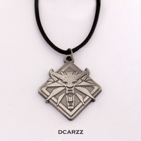 Wholesale medallion necklace resale online - Wizard Wild Hunt Medallion Necklaces Wolf head Pendant Leather Cord Necklace Gift Men Geralt Cosplay Game Jewelry