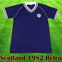 équipement de maison achat en gros de-Scotland Retro 1982 Maillot de football équipement Accueil kits bleus 1982 1983 SCOTLAND Retro Maillot De Football dessus