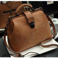 Wholesale scrubs large resale online - 2019 New Retro Doctor Bag Fashion Large Capacity Messenger Bag Ladies Shoulder Bag Scrub Leather Leather Handbag Two New Style CJ191224