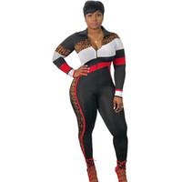 bayan tulum bedeni xl toptan satış-İlkbahar Sonbahar Kadınlar Tulum Turn Down Yaka Çizgili Uzun Pantolon Bodysuit Yüksek Bel Aktif Playsuit Artı Boyutu