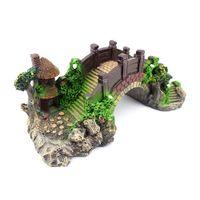 Wholesale rock toys resale online - Aquarium Decoration Fish Toy Bridge Rockery Fake Rock Bridge Landscape Pavilion Resin Tree For Fish Tank Ornament Decors
