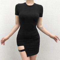 Wholesale sexy ring girl resale online - Black Harajuku Dresses Women Summer Short Sleeve Sexy Hollow Out Asymmetrical Metal Ring Slim Mini Dress Gothic Girls
