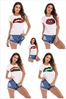 branco t shirts china venda por atacado-Womens designer de roupas t-shirt branca boca grande bordado Paillette mulheres roupas de verão China fabricante de roupas femininas venda quente
