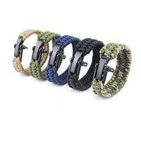 klettern armband großhandel-Para Cord Rope Outdoor Survival Armband Camping Steel Shackle Buckle Kletterseil Rescue Cord Armband Steel Shackle Armband