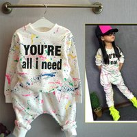 Wholesale old fashioned clothes for kids resale online - 2019 new fashion girls tracksuit baby kids sport clothes set coloful letter printed children suit clothing set for years old