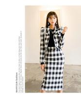korecek alin etek etekleri toptan satış-2019 sonbahar yeni Kore versiyonu ince uzun kollu ekose elbise + uzun etek iki parça