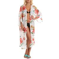 ingrosso un abito di stile a mano-Camicetta Bikini in stile elegante con motivo a fiori Cardigan con protezione solare Kit spiaggia Accessori Costa brasiliana