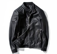 abrigos de cuero rojo para hombre. al por mayor-Abrigo de invierno negro rojo chaqueta de cuero de los hombres de manga larga soporte cuello PU chaqueta de cuero para hombres