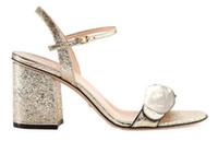 ingrosso sandali da festa beige-2019 Classici Sandali con tacco alto Pelle di tacco ruvida di lusso Scarpe da donna in pelle scamosciata firmate Fibbia in metallo per le feste Occupazione Sexy sanda