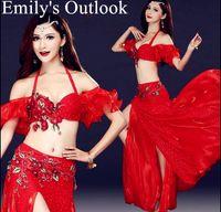 blauer bauchtanz bh großhandel-Günstige Lady Bauchtanz Kostüme India Dance Outfit Halloween Karneval 3er Set BH Gürtel Rock Red Rose Blue Kostenloser Versand